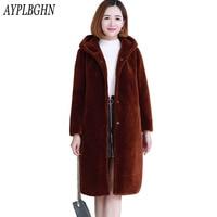 Winter Hooded Faux Fur Women Shaggy Coat Jacket Long Sleeve Fake Fur Overcoat Plug Size Long Ladies Fur & Faux Fur Outwear