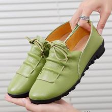Women Shoes Split Leather Ballet Flats Casual Loafers Woman Waterproof Non-slip Massage Shoes Luxury Brand Design High Quality