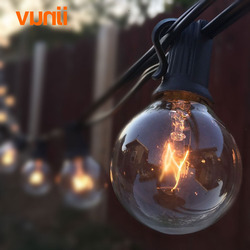 مصابيح فناء G40 غلوب حفلة عيد الميلاد ضوء سلسلة ، دافئ أبيض 25 واضح خمر المصابيح 25ft ، ديكور في الهواء الطلق الفناء الخلفي جارلاند