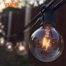 안뜰 조명 G40 글로브 파티 크리스마스 문자열 빛, 따뜻한 화이트 25 지우기 빈티지 전구 25 피트, 장식 야외 뒷마당 갈 랜드