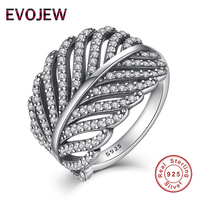 Valentine S Day Gift Authentic 100 925 Sterling Silver Ring For Women Dazzling CZ Radiant Feather