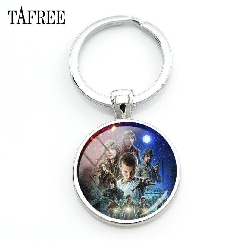 TAFREE Stranger Things Pattern Keychain Pendant Glass Cabochon Dome Keyring Car Key Bag Charms QF118