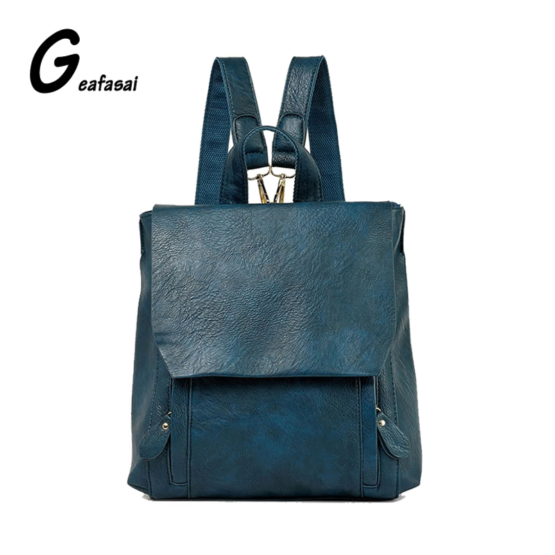 COUPON teenager women girl leather backpack lady student school vintage bags solid beige black blue rose