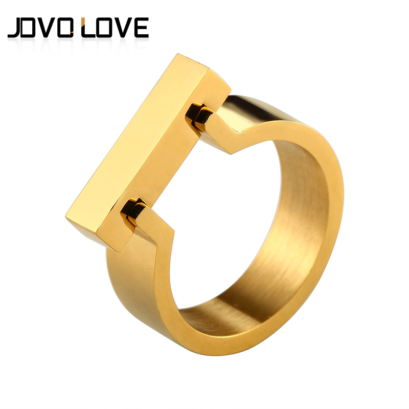 Punk Style Gold Color Ring for Women Men Jewelry High Quality Stainless Steel Ring with Four Colors Size 6-10#