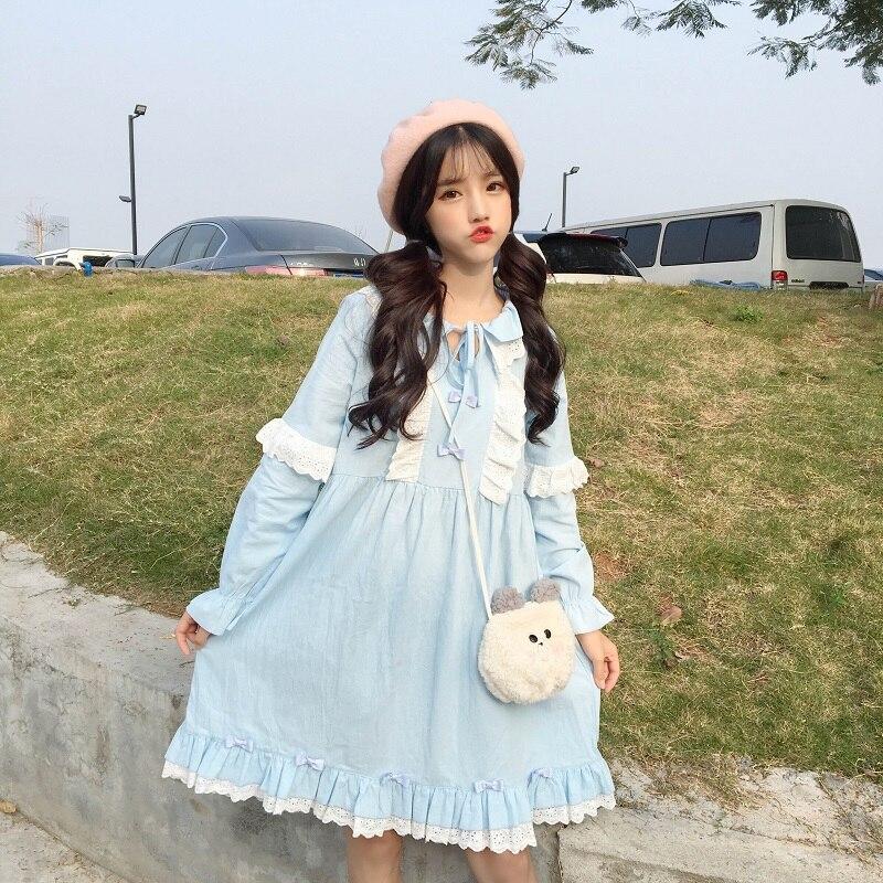 Japanese Kawaii White Lace Pink Dress 2018 Cute Long Sleeve Sweet Vintage Doll Dresses Ruffles Bandage Lolita Casual Blue Dress