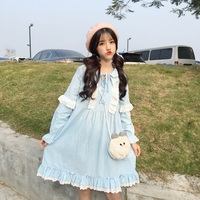 Japanese Kawaii White Lace Pink Dress 2018 Cute Long Sleeve Sweet Vintage Doll Dresses Ruffles Bandage Lolita Casual Blue Dress