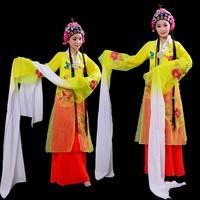 Ancient Chinese costume hanfu women stage wear Traditional Beijing Opera Dramaturgic garment Robe long sleeve folk dance Dress