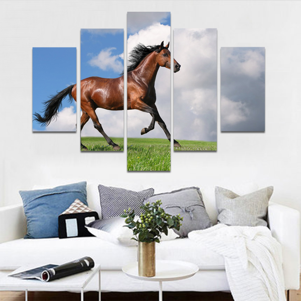 Unframed HD Print 5 Canvas Art Painting Horse Living Room Decoration Painting Mural Unframed Custom Made