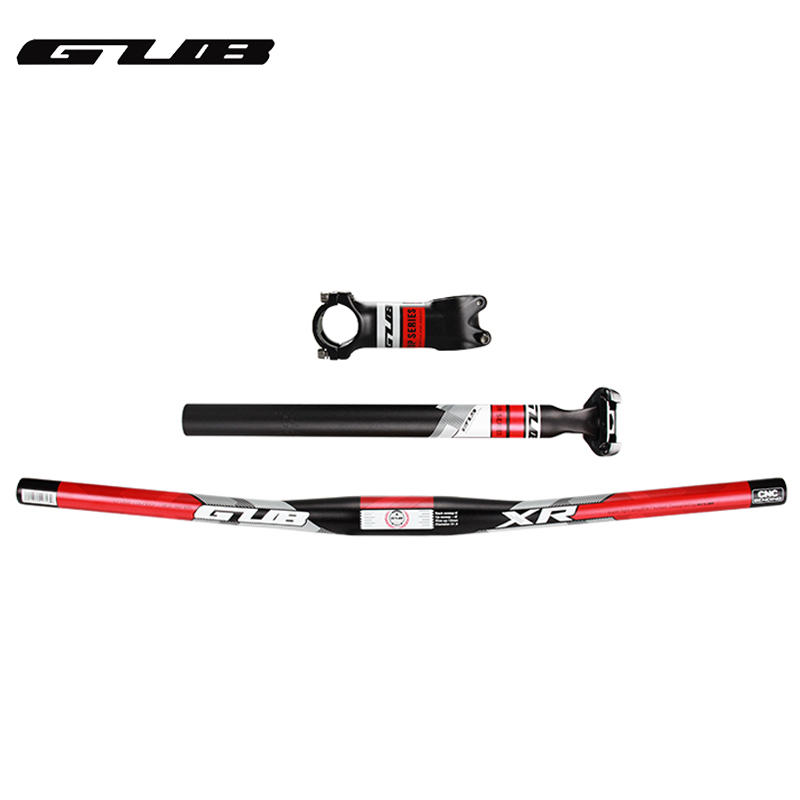GUB Aluminum Bicycle Straight Handlebar +Stem + Seatpost Set 600mm 31.8mm 350mm Seat Post For Mountain Bike Cycling 3 Parts bicycle seatpost 31 8 580mm for brompton yr yt folding bike aluminum seat post 345g bike parts