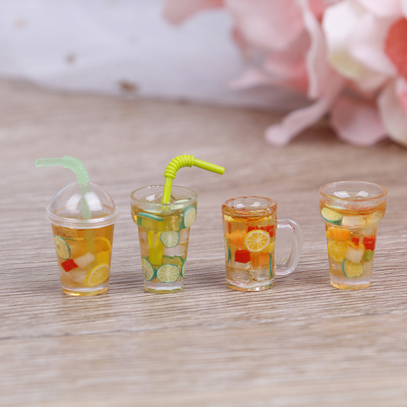 1Pcs 1/12 Mini Resin Fruit Tea Cup Simulation Miniature Drinks Model Furniture Toy Doll Home Decoration  Dollhouse Accessories