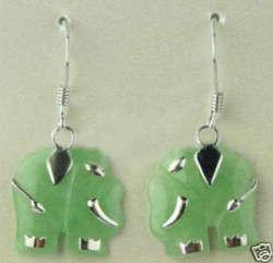 Шарм Зеленый Натуральный нефритовый резной слон danggle серьги
