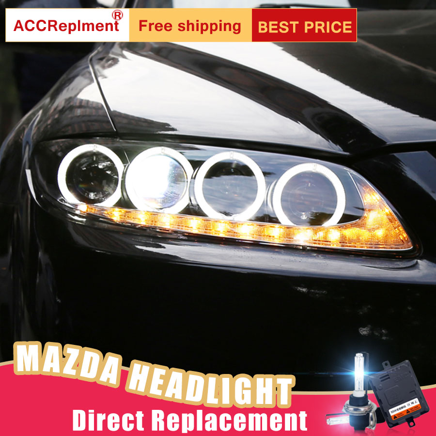 2Pcs LED Headlights For Mazda 6 2003-2014 led car lights Angel eyes xenon HID KIT Fog lights LED Daytime Running Lights