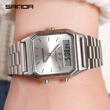 Silver Women Watches Fashion Dual Display Analog Rose Gold Quartz Wrist Watch Sports Waterproof LED Digital Clock relogio femino