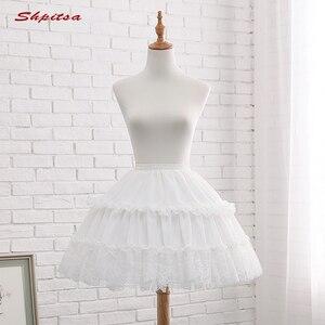 Image 2 - שחור או לבן 2 חישוקי קצר תחתוניות לחתונה לוליטה אישה ילדה תחתוניות קרינולינה פלאפי Pettycoat חישוק חצאית