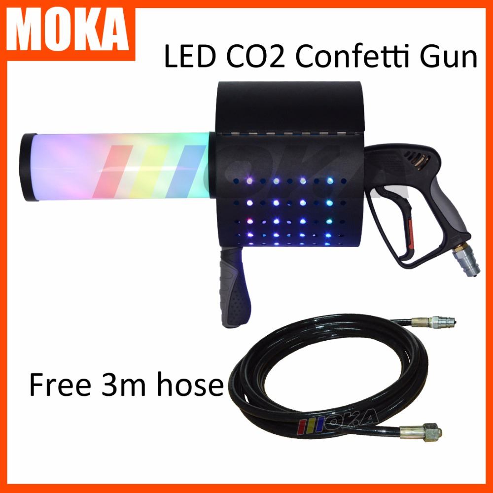 New coming LED CO2 Confetti Cannon super led co2 dj gun magic cryo fx co2 confetti machine gun led co2 jet machine free 3m hose