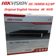 EMS FreeShipping Hikvision English Version DS-7608NI-K2/8P 4K NVR Support H.265 2SATA & 8POE Ports 8CH Network CCTV NVR