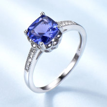 UMCHO Romantic Created Tanzanite Blue Statement Rings 925 Silver Jewelry For Women Wedding Party Engagement Gifts Fine Jewelry