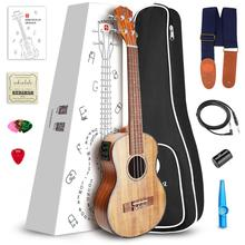 Vangoa Ukulele Soprano/ Concert /Tenor KOA Aquila Strings Acoustic Electric 3 Band EQ Ukulele with Ukulele Accessories
