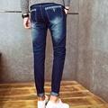 New 2017 spring autumn Cheap Hip hop pencil pants Skinny jeans men solid leg Slim fit Grey Denim Teenager biker jeans 28-34