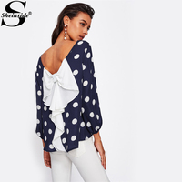 Sheinside Bow Back Polka Dot Loose Blouse Women Navy Boat Neck Long Sleeve Sexy Blouse 2017