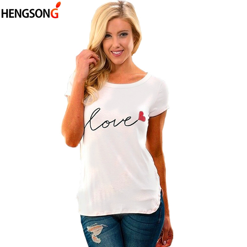 LOVE T-Shirt Letters Print Women T Shirt Female Girls Casual T Shirt Short Sleeve O Neck Summer Casual White Tops Tees Clothing