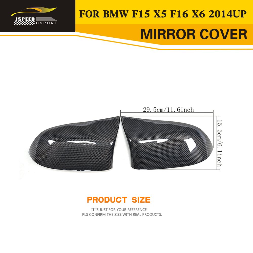 Replacement Carbon Fiber Auto Racing Mirror Covers for BMW F15 X5 F16 X6 2014 2015 2016 Car Styling direct replacement carbon fiber wing mirror covers for bmw x5 f15 x6 f16 facelift auto side mirror caps car styling