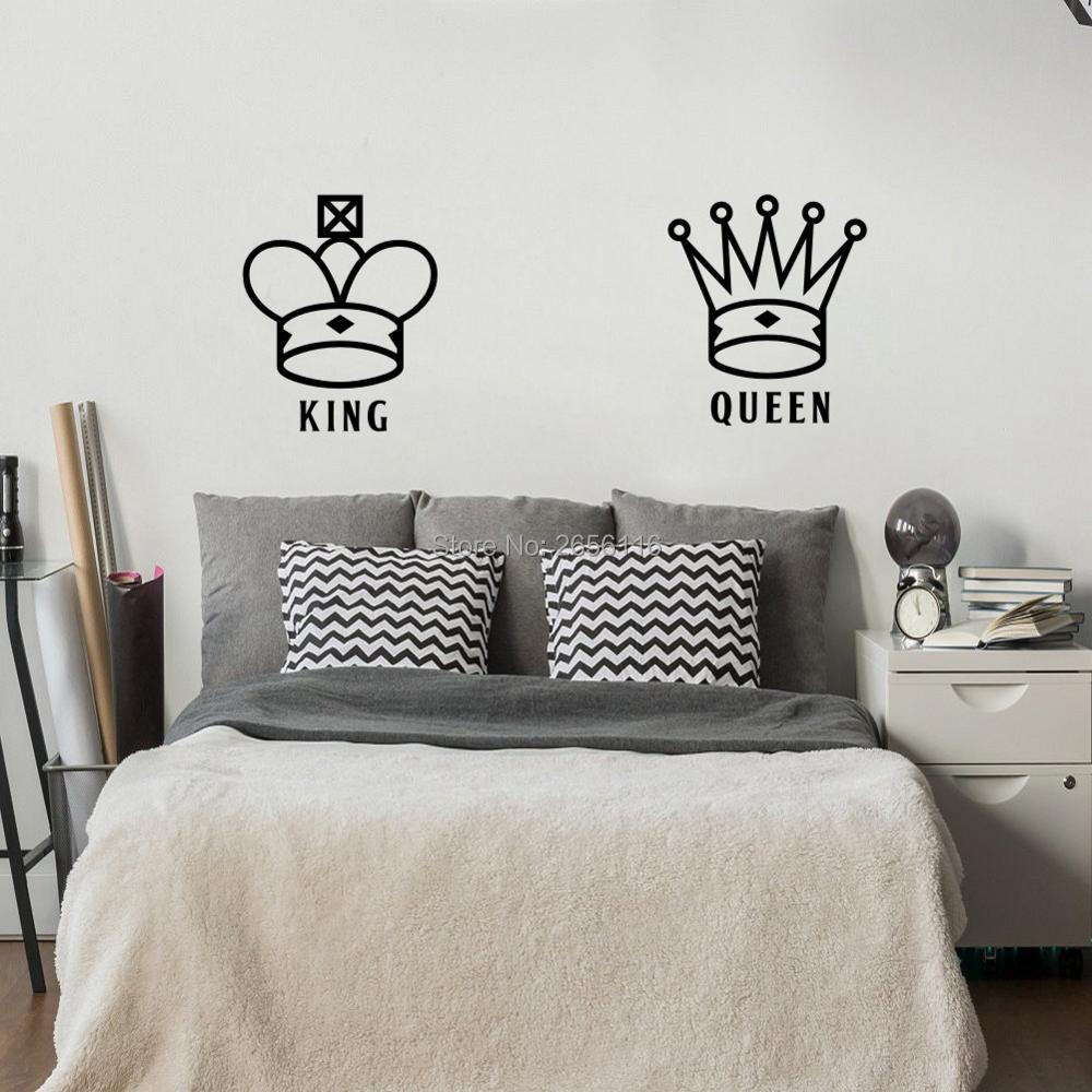 King And Queen Lover Couple Wall Decal Crown Pattern Art