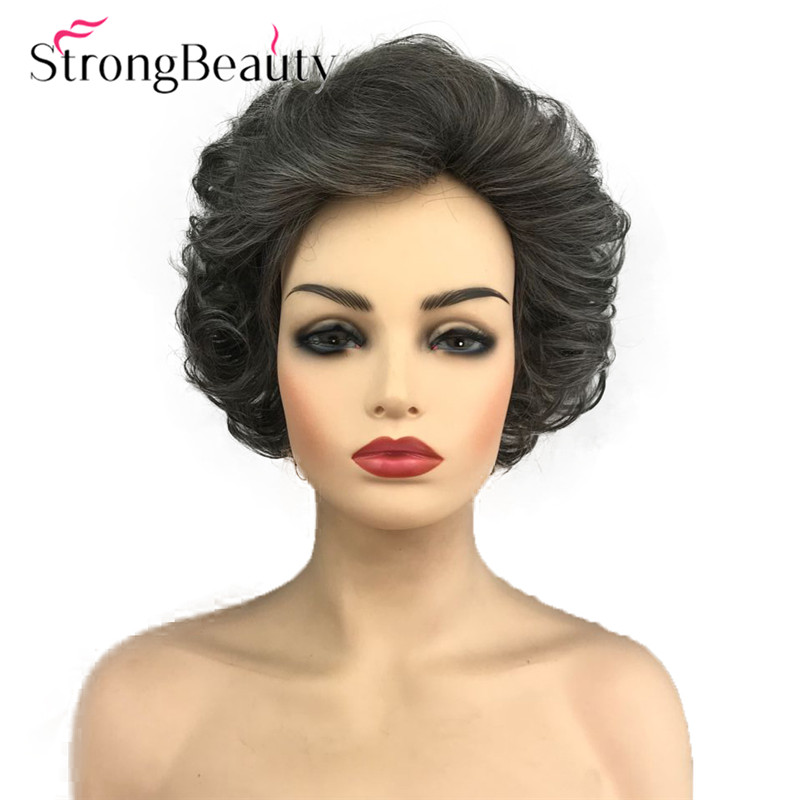 StrongBeauty Short Curly Wig Grey Hair Synthetic Wig Women Heat Resistant Wig 8 Inch