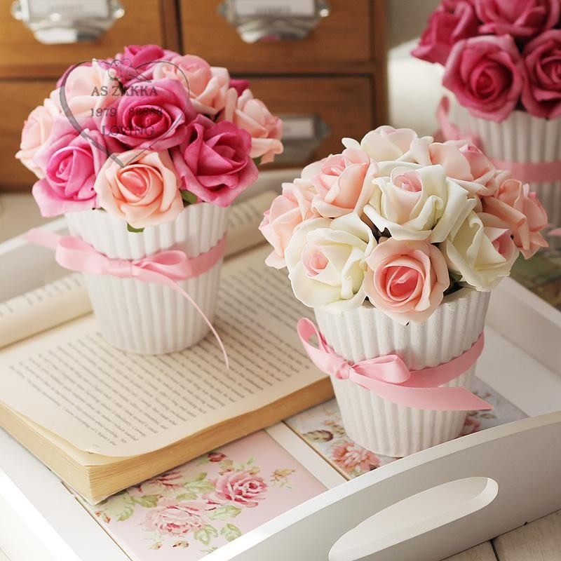 Real Touch Flowers 2PCS Pot Culture Home Decorations For Wedding