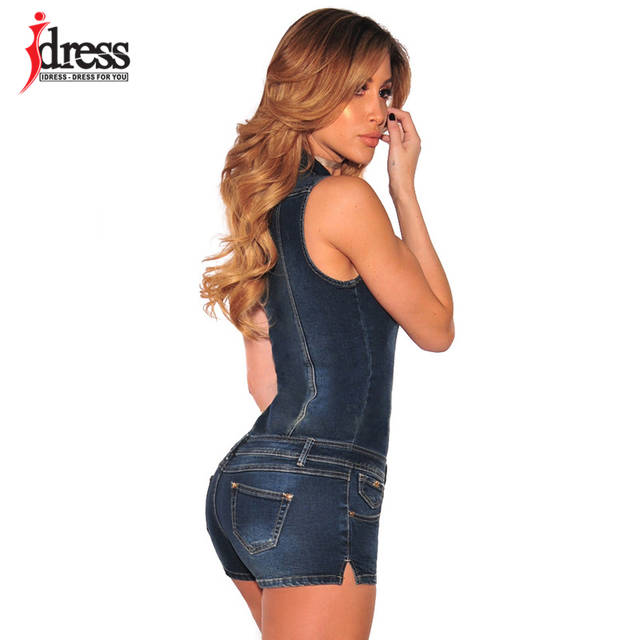 ea70c1803ef4 Online Shop IDress Women Summer Blue Jeans Playsuit Jumpsuits for Women  2017 Combinaison Short Femme Sexy Bodycon Denim Overalls Combishort