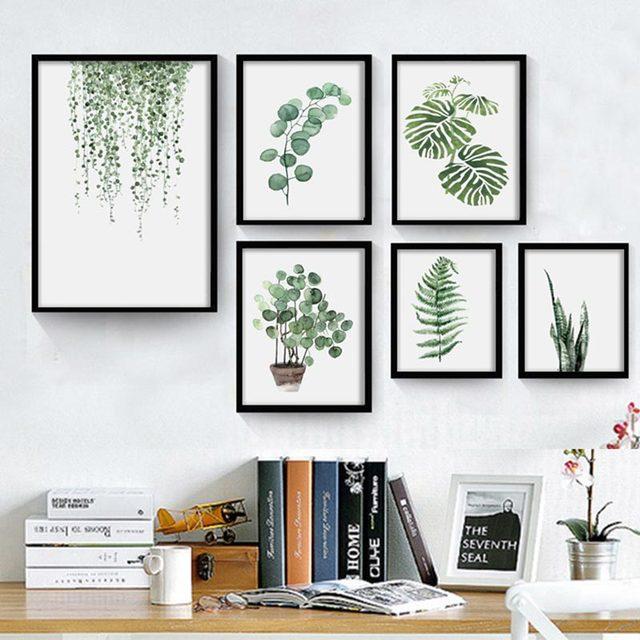 Современные зеленые тропические листья растений холст