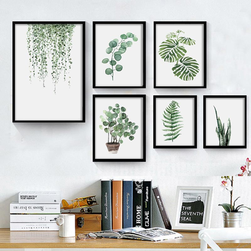 Watercolor Green Plants Monstera Nature Posters And Prints: NEW Watercolor Tropical Plant Leaves Canvas Art Print