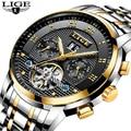 LIGE, мужские часы, Лидирующий бренд, Роскошные автоматические механические часы, мужские, полностью стальные, бизнес, водонепроницаемые, спо...