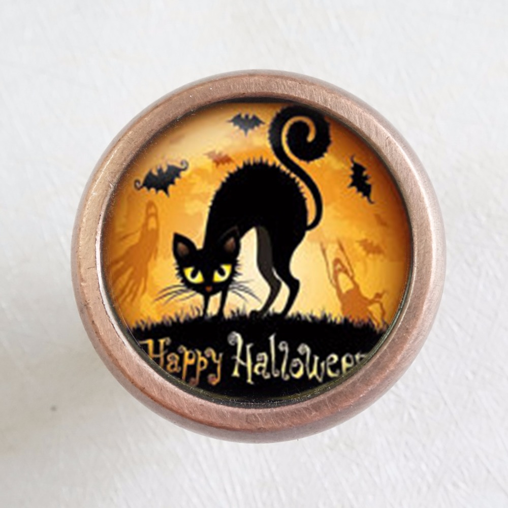 Halloween black cat - Drawer Knobs Pulls Handles / Kitchen Cabinet Handle Pull Antique Brass Dresser