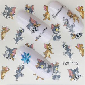 Nail sticker art decorations cat mouse cartoon slider adhesive Water Transfer decals manicure lacquer accessoires polish foil