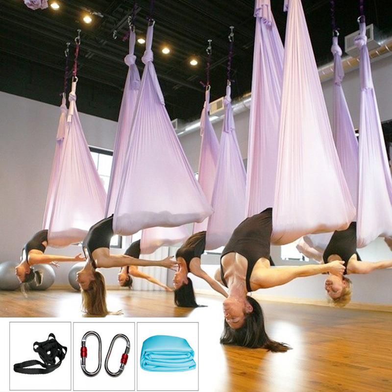 XC Full Set Aerial Yoga Hammock 5mx2.8m 16 Color Quality Air Yoga Hammock+2 Pcs Carabiner+2Pcs Daisy Chain Set Quality Yoga Belt