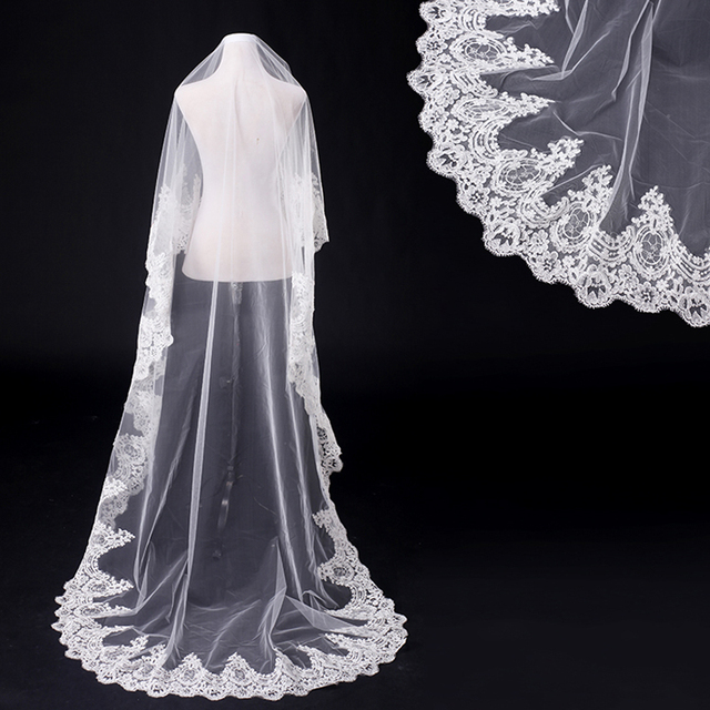 White Lace Long Wedding Dress Bridal Veils Vestido De Noiva Wedding Veils Long Bridal Veils Covers Head Veils