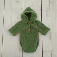 Newborn Hat Mohair Hooded Romper Set Clothes Bonnet Fotografia Hand Knitting Cap Mohair Baby Overalls Baby