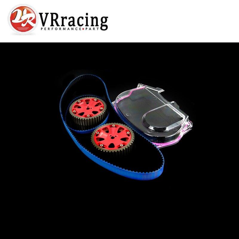 VR RACING - HNBR Racing Timing Belt + Aluminum Cam Gear + Clear Cam Cover For Mitsubishi Lancer Evolution EVO 9 IX Mivec 4G63  clear fit range vr 40 revolution
