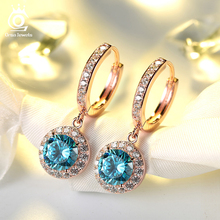 ORSA JEWELS Newest Luxury Silver Color&Rose Gold Color Earrings with 1.8 Carat Ocean Blue Cubic Zirconia Earring for Women OE160