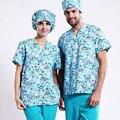 ¡ Caliente! nueva llegada impreso tela ropas médicas para Blue dog doggie con cómodo uniforme médico en matorrales conjunto