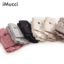 iMucci Fashion Gloves Women Mitten Warmer Women Winter Glove Fingerless Gloves Female Girl Guanti iInvernali Donna Guantes Mujer