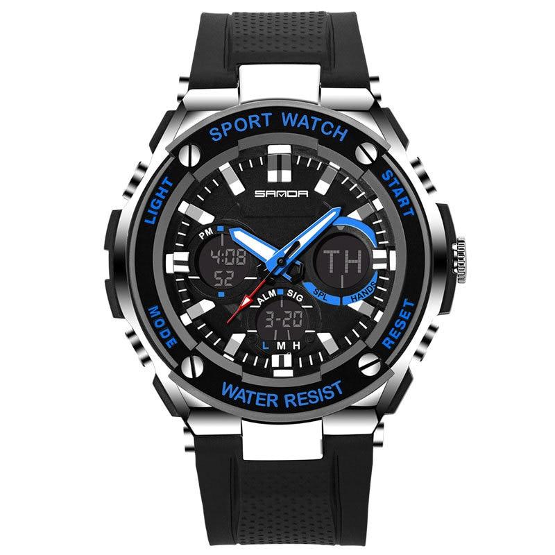 SANDA LED Digital Watch Men 2019 Top Brand Luxury Famous Wristwatch Male Clock Wrist Watch Sport Digital watch Relogio Masculino in Sports Watches from Watches