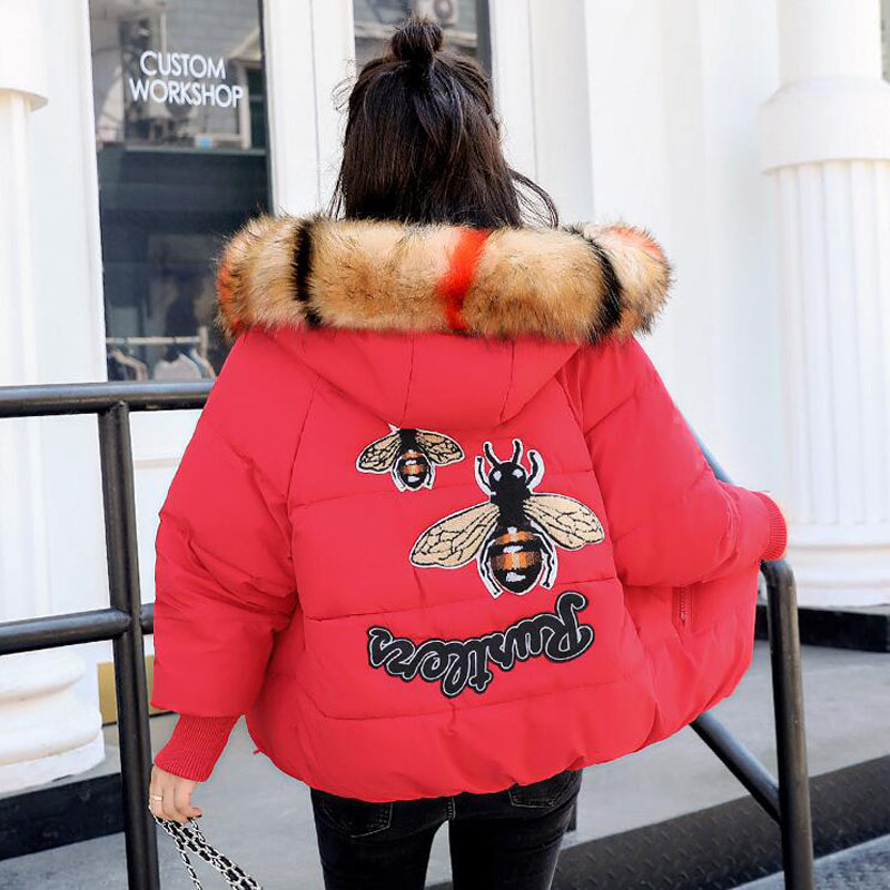JKKUCOCO Newest Cotton Jacket Suatans Warm Well Women Winter Jacket Fashion Solid back insect pattern Winter