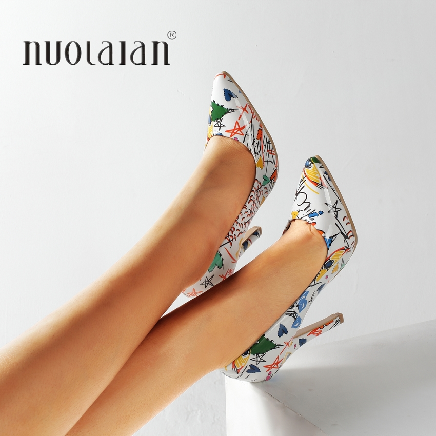2019 New Fashion Woman Shoes Graffiti Colorful Party Wedding Shoes Big Size 35-42 Sexy Pointed Toe High Heels Pumps Women Shoes