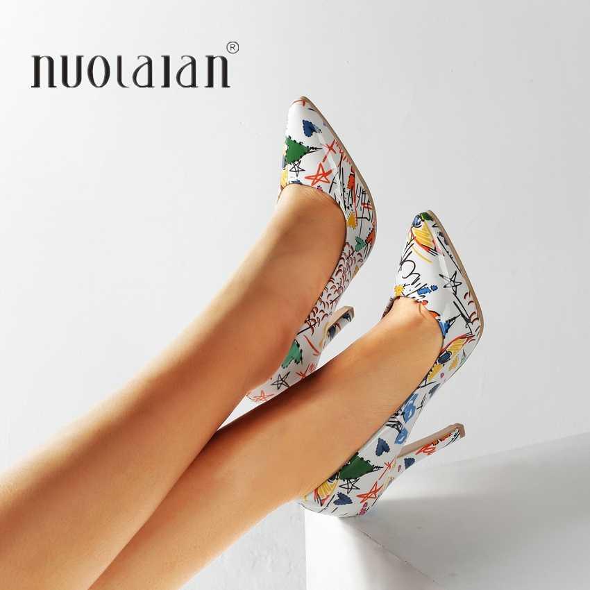 ¡Novedad de 2019! Zapatos de moda para mujer, zapatos coloridos con grafiti para fiesta o boda, zapatos de tacón alto sexis con punta en pico de talla grande 35-42, zapatos de mujer