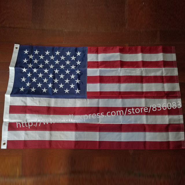 embroidered american flag 3x5 feet 90x150cm thicken oxford polyester