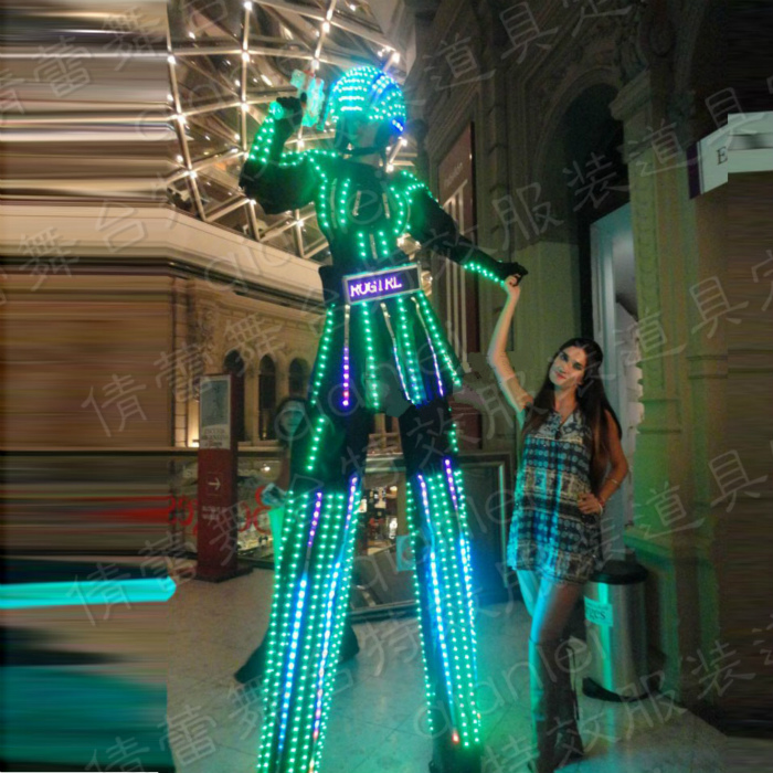 Новый этап люминесцентные одежда реквизит семь цвета ходулях юбка костюм nitrogirl ночные клубы