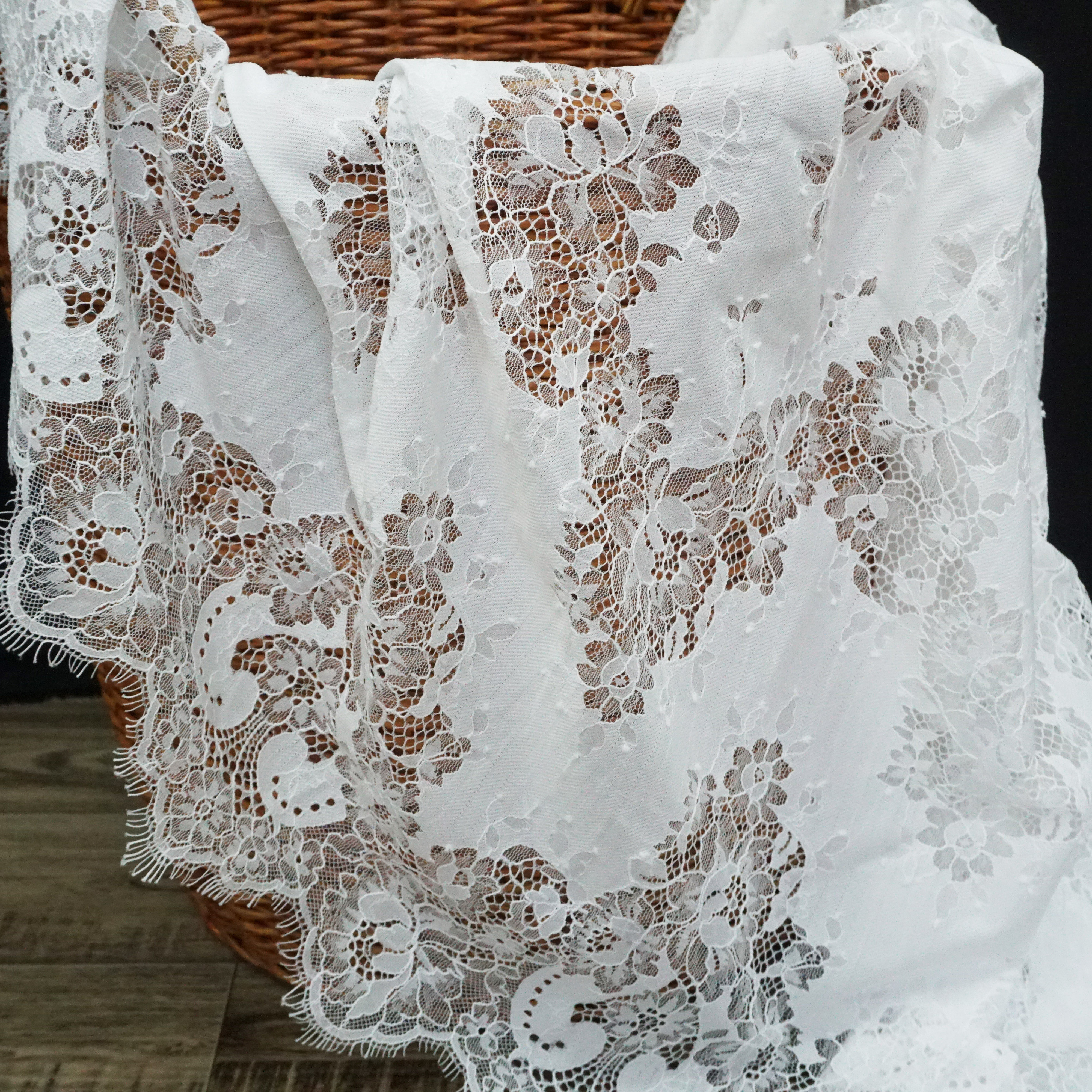 Soft top quality women long dress making lace fabric 1 piece 3 meters long! Lucy boutique eyelash french in stock