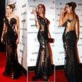 Nuevo Diseño de Encaje Negro Appliques Sirena Del Amor Side Dividir Opacidad Sheer Sexy Celebrity Vestidos de Noche Vestido Largo